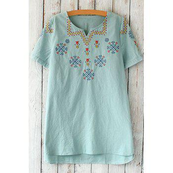 Ethnic V-Neck Short Sleeve Embroidered Loose-Fitting Women's T-Shirt