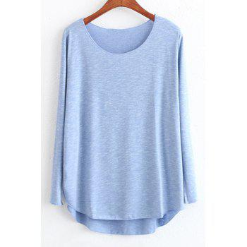 Casual Style Scoop Neck Candy Color High Low Long Sleeve T-Shirt For Women