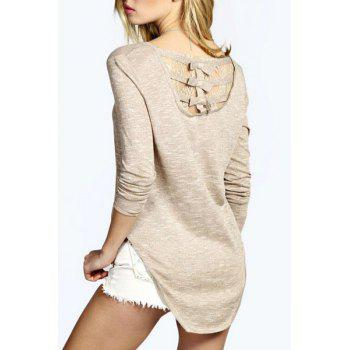 Casual Style Round Neck Long Sleeve Solid Color Lace Spliced High Low Women's T-Shirt