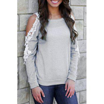 Stylish Scoop Neck Long Sleeve Crochet Flower Spliced Women's T-Shirt