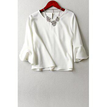 Stylish Round Neck Flouncing Sleeve Keyhole Design Women's White T-Shirt
