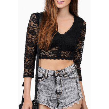Sexy Style V-Neck See-Through Lace 3/4 Sleeve Crop Top For Women