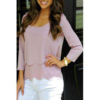Stylish Scoop Neck 3/4 Sleeve Pure Color Women's T-Shirt