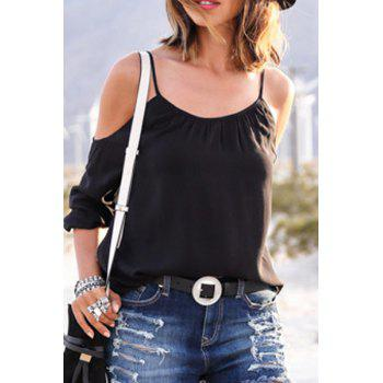 Fashionable Spaghetti Strap Black Half Sleeve T-Shirt For Women