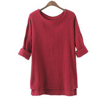 Trendy Round Neck Rolled Sleeve Solid Color High-Low Hem Women's Linen T-Shirt