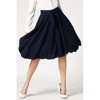 Stylish High-Waisted Solid Color Ruffled Tie-Up Women's Midi Skirt