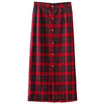 Stylish High-Waisted Single-Breasted Plaid Women's Long Skirt