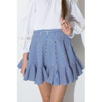 Refreshing High-Waisted Striped Flouncing Women's Mini Skirt