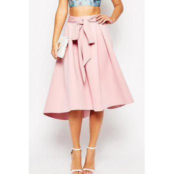 Sweet Style High-Waisted Ruffled Self-Tie Women's Pink Midi Skirt