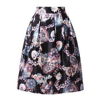 Stylish High-Waisted Ruffled A-Line Floral Print Women's Midi Skirt