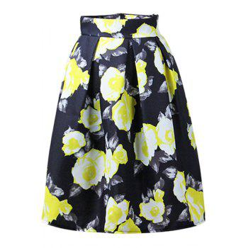 Trendy High-Waisted Ruffled A-Line Floral Print Women's Midi Skirt