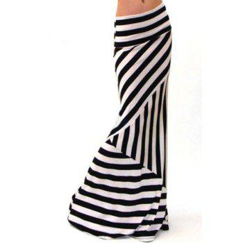 Stylish Elastic Waist Stripes Packet Buttocks Women's Long Fishtail Skirt
