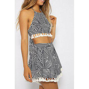 Stylish Halter Stripes Spliced Crop Top and Skirt Women's Suit