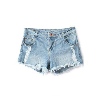 Stylish Low Waisted Broken Hole Denim Women's Shorts