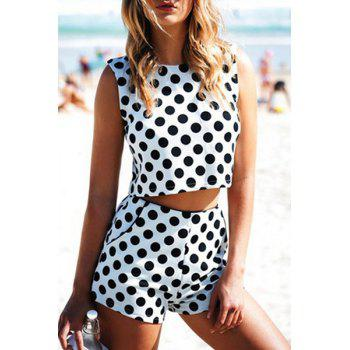 Fashionable Jewel Neck Black Polka Dot Sleeveless Crop Top + Shorts For Women