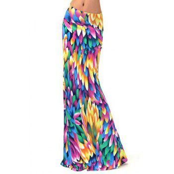 Stylish Elastic Waist Colorful Printed Women's Long Skirt