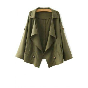 Fashionable Turn-Down Collar Loose-Fitting Buttons Long Sleeve Trench Coat For Women