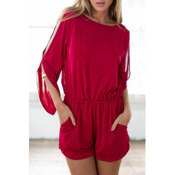 Sexy Style Scoop Neck Slit Backless Long Sleeve Romper For Women