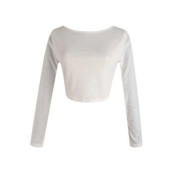 Stylish Round Neck Long Sleeve Solid Color Fitted Zipper Design Women's Crop Top