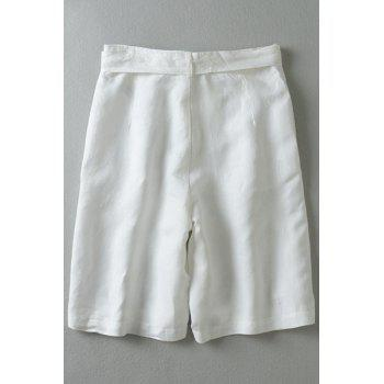 Vintage Style Zipper-Fly Tie-Up Wide Leg Women's White Fifth Pants - WHITE WHITE