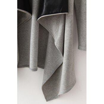 Fashionable Turn-Down Collar Long Sleeve Faux Leather Splicing Trench Coat For Women - GRAY M