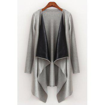 Fashionable Turn-Down Collar Long Sleeve Faux Leather Splicing Trench Coat For Women - GRAY GRAY