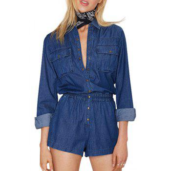 Stylish Turn-Down Collar Long Sleeve Single-Breasted Pocket Women's Playsuit