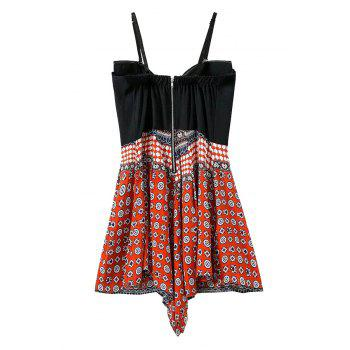 Stylish Cami Print Spliced Women's Playsuit - RED S