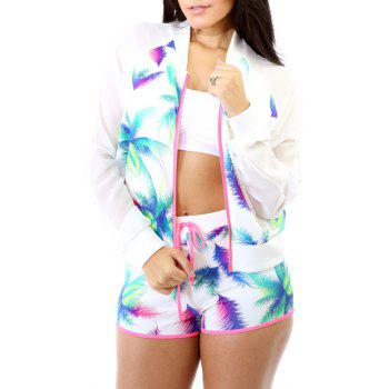 Fashionable Stand-Up Collar Colorful Printed Long Sleeve Coat + Shorts For Women