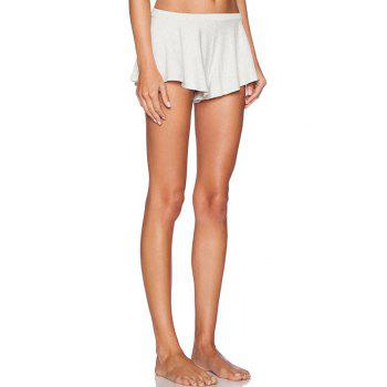 Casual Style Low-Waisted Solid Color Straigrt Leg Women's Stretchy Shorts - OFF WHITE S
