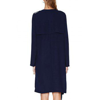 Fashionable Collarless Solid Color Pockets Long Sleeve Trench Coat For Women - DEEP BLUE S