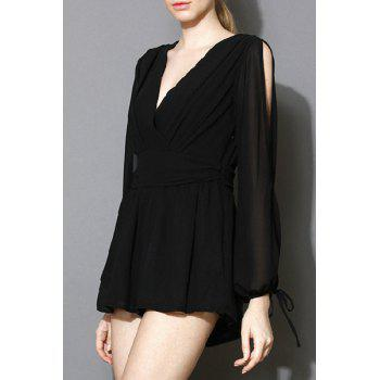 Stylish Plunging Neck Long Sleeve Solid Color Women's Playsuit