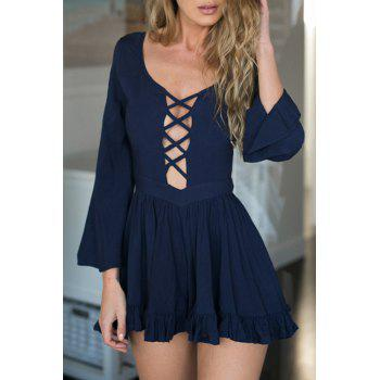 Sexy Style Plunging Neck Hollow Out Backless Long Sleeve Romper For Women