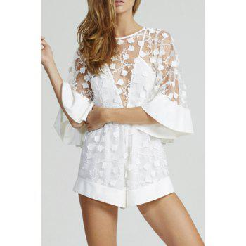 Sexy Style Jewel Neck See-Through Floral Embroidery Half Sleeve Romper For Women