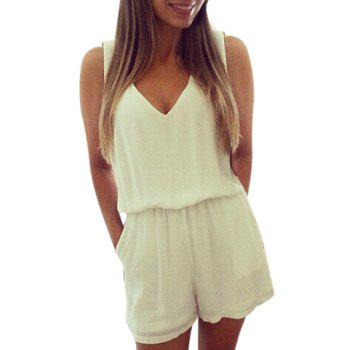 Fashionable V-Neck Backless Lace Splicing Sleeveless Romper For Women