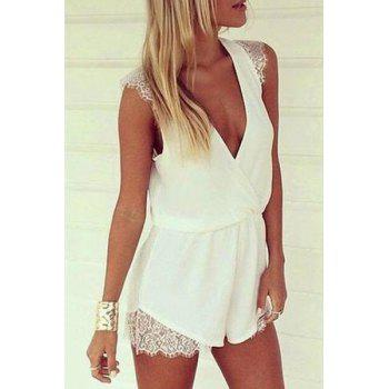 Stylish Plunging Neck Sleeveless White Women's Playsuit
