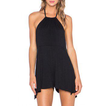 Sexy Style Halter Neck Sleeveless Backless Color Block Women's Playsuit