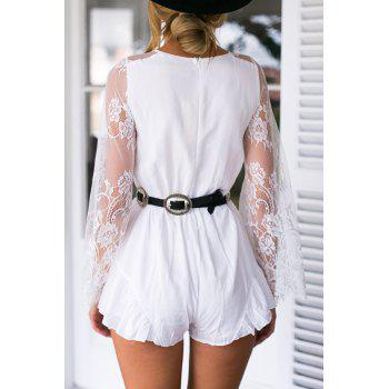 Sexy Style Plunging Neck See-Through Lace Splicing Long Sleeve Romper For Women - WHITE M