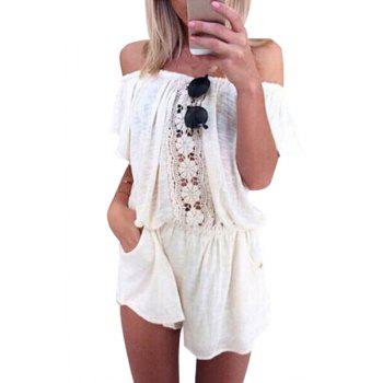 Stylish Off-The-Shoulder Short Sleeve Lace Spliced Women's White Romper