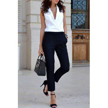 Stylish V-Neck Sleeveless Pocket Design White and Black Spliced Women's Jumpsuit