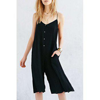 Simple Design Spaghetti Strap Sleeveless Button and Pocket Design Women's Jumpsuit
