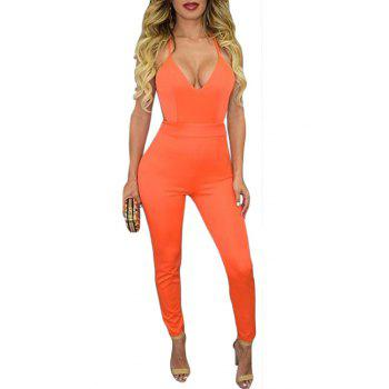 Stylish Cami Solid Color Backless Women's Jumpsuit