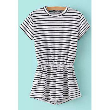 Fashionable Jewel Neck Stripe Elastic Waist Short Sleeve Romper For Women