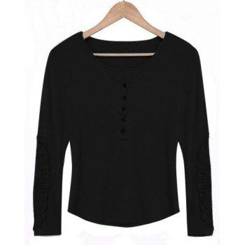 Casual Lace Splicing Scoop Neck Long Sleeve T-Shirt For Women