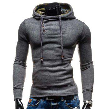 Elbow Patch Oblique Button Up Pullover Hoodie