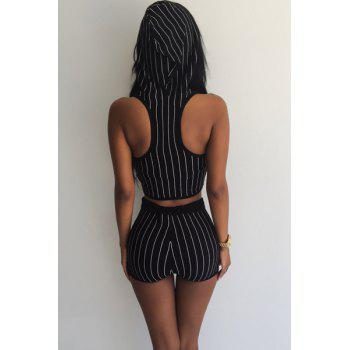Sexy Striped Hooded Short Tank Top+ Shorts Sport Suit For Women - BLACK L