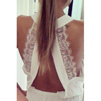 Fashionable V-Neck Backless Lace Splicing Sleeveless Romper For Women - WHITE XL
