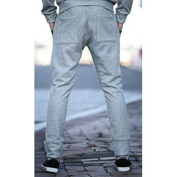 Trendy Lace-Up Slimming Color Block Splicing Beam Feet Polyester Sweatpants For Men - LIGHT GRAY L