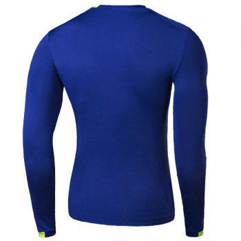 Skinny Round Neck Fashion Stripe Print Color Splicing Long Sleeve Men's Quick-Dry T-Shirt - BLUE M