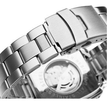 Jaragar Men Automatic Mechanical Watch with Working Sub-dials Stainless Steel Strap - SILVER